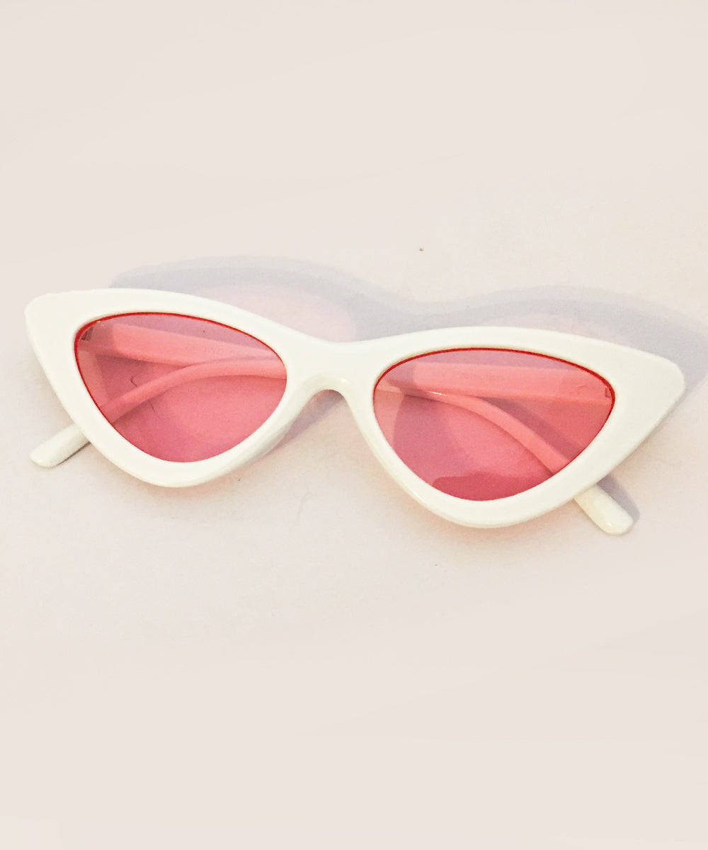1950s White & Pink Lens Party Retro Cat Eye Sunnies