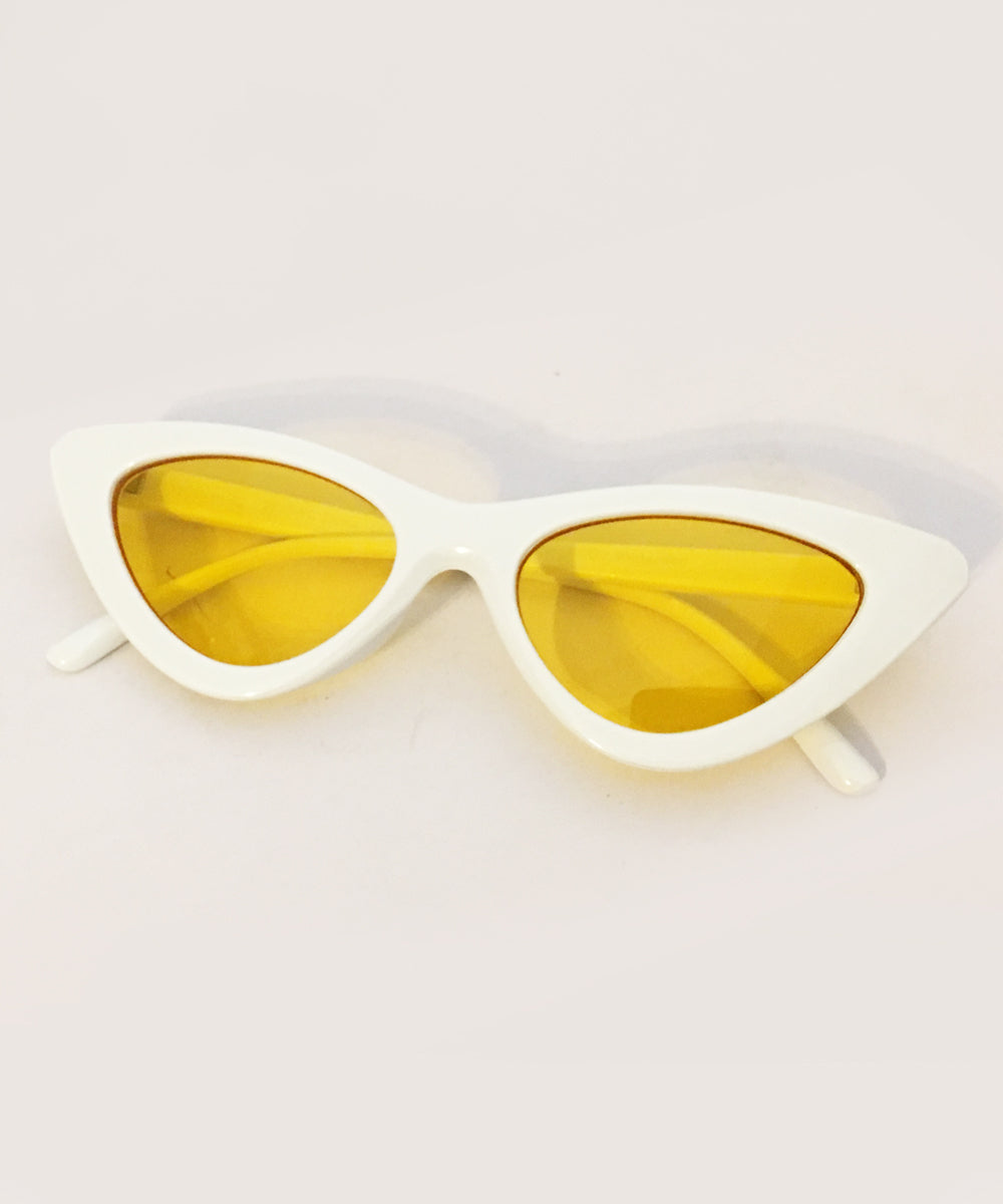 1950s White & Yellow Lens Party Retro Cat Eye Sunnies