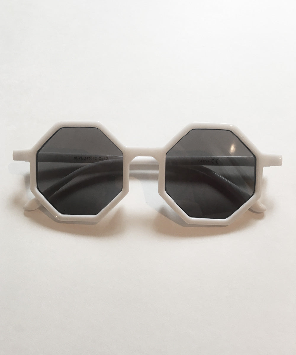 Octavia White Thin Geometric Retro 1960s Sunglasses