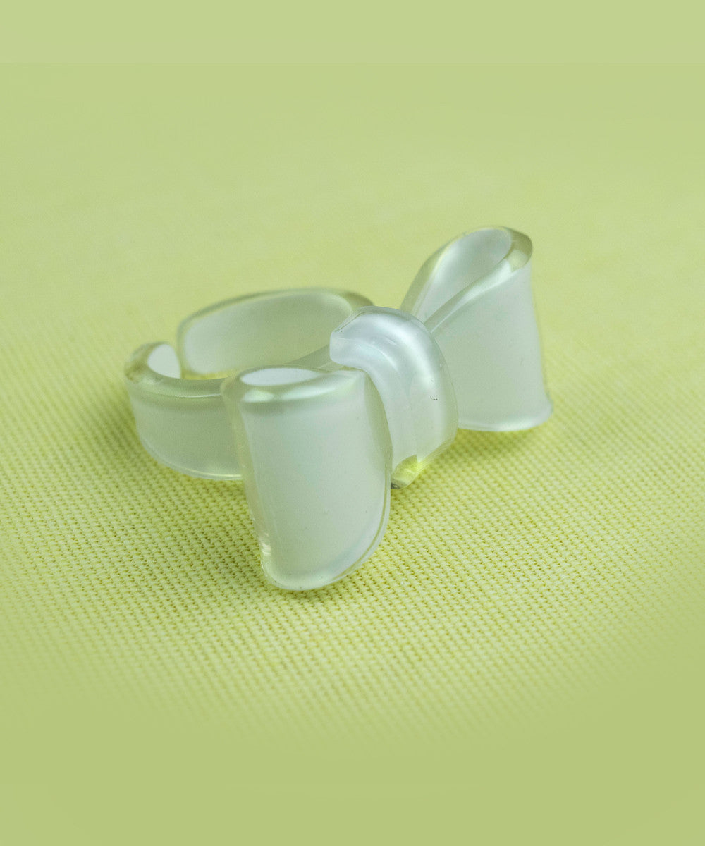 Cute White Bow Adjustable Ring