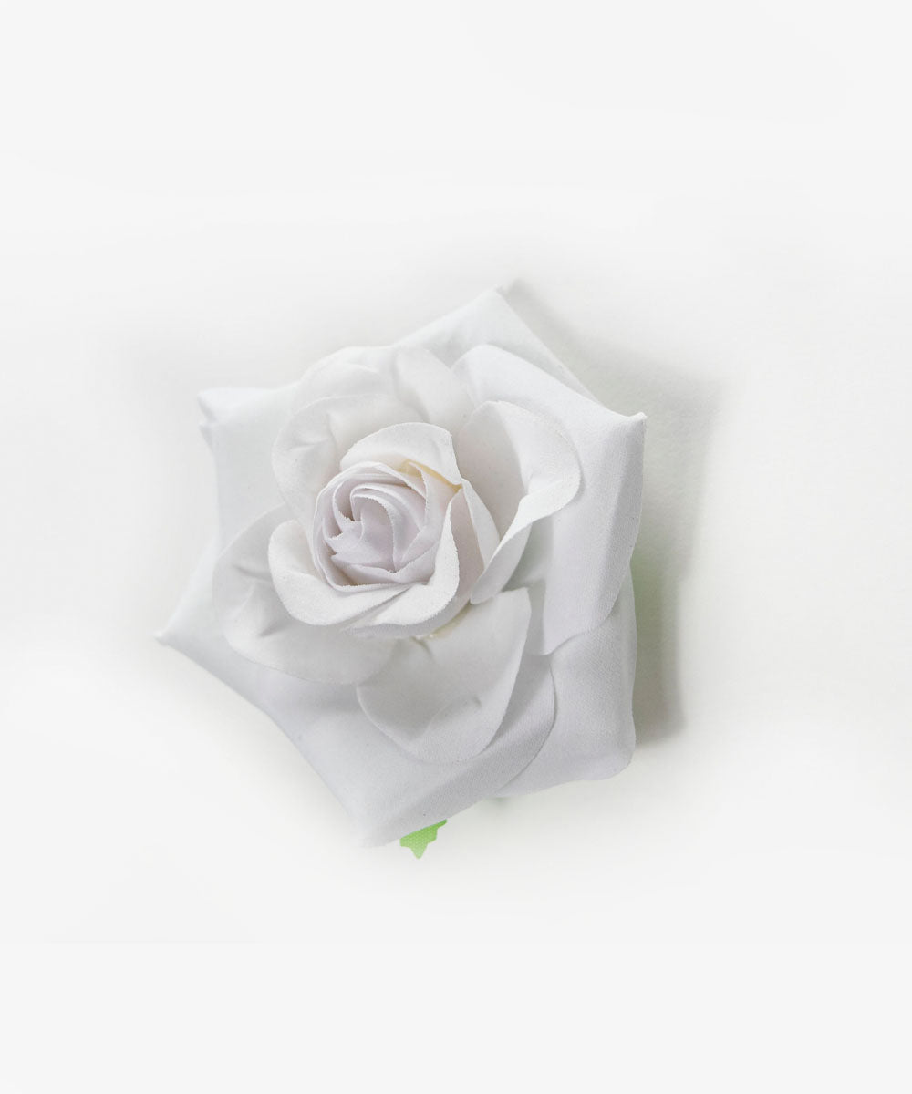 White & Green Rose Hair Clip