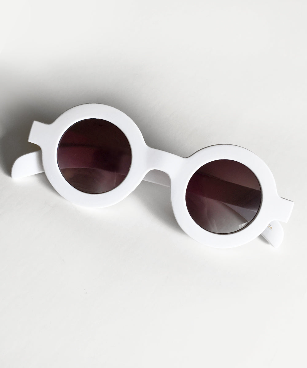 Bright White 1940s Inspired Retro Round Sunglasses