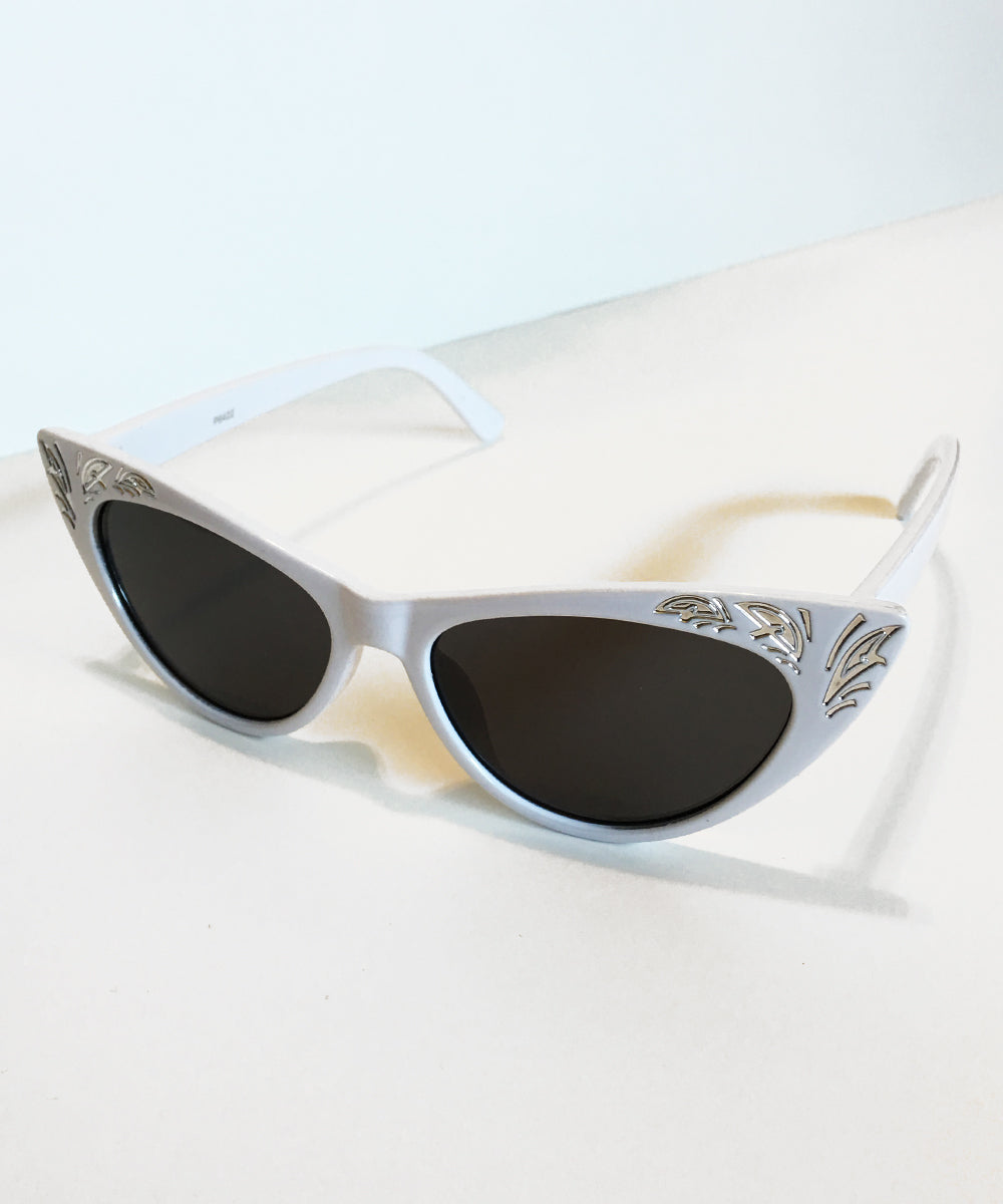 Western Inspired White & Silver Pinup Sunglasses