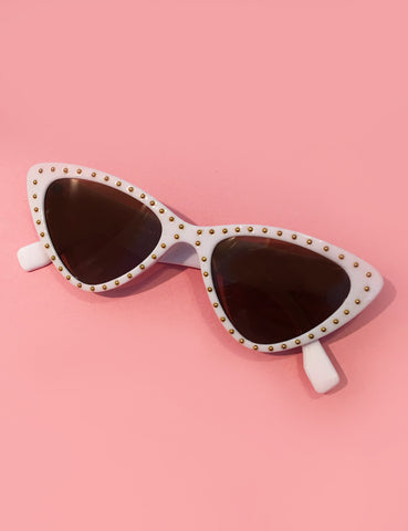 White & Gold Studded Retro Classic Cat Eye Sunglasses