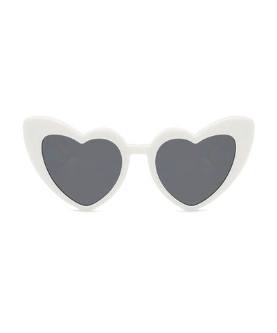 Solid White Heart Shaped Retro Sunglasses