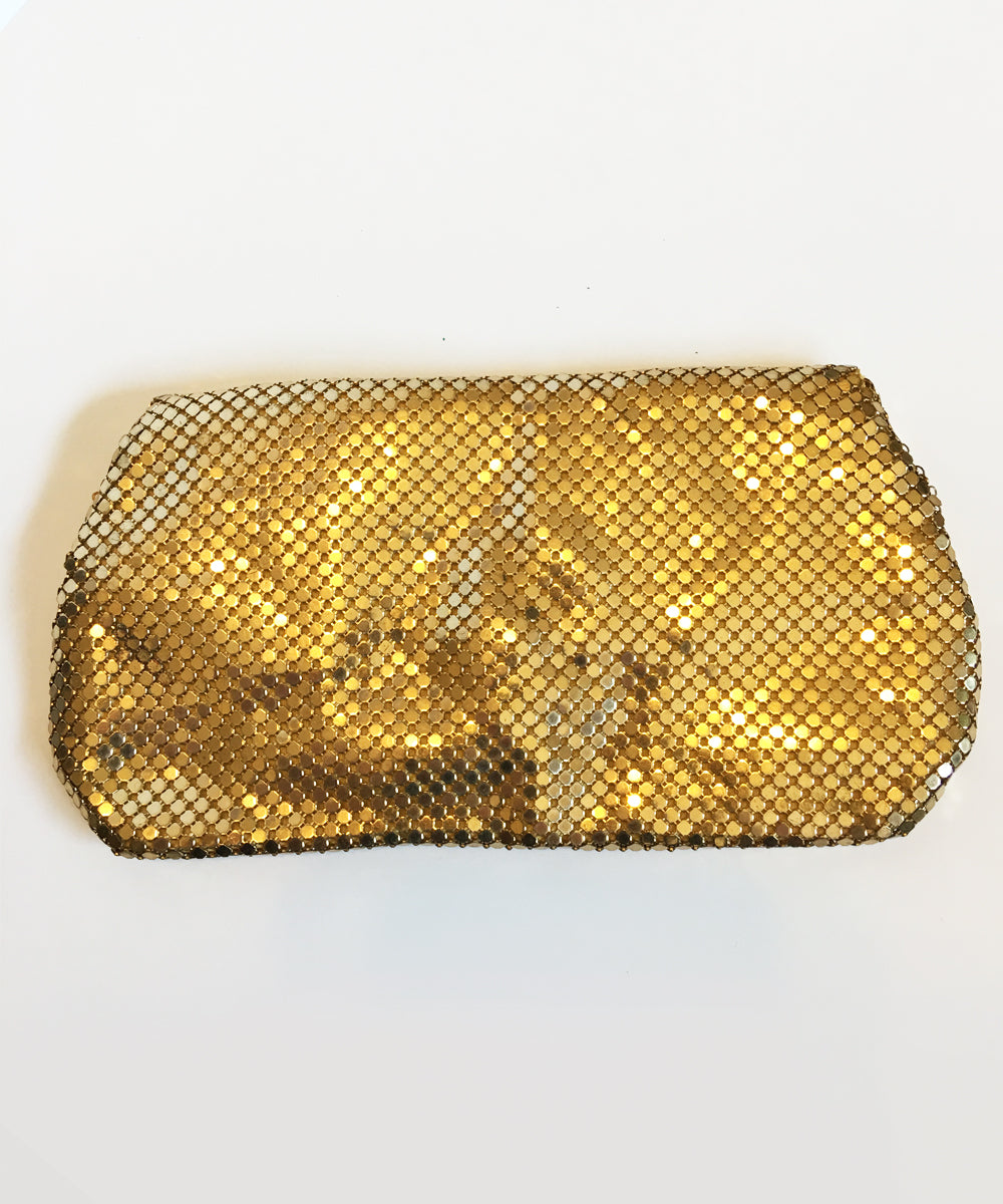 1950s Gold Whiting & Davis Vintage Mesh Small Hand Clutch