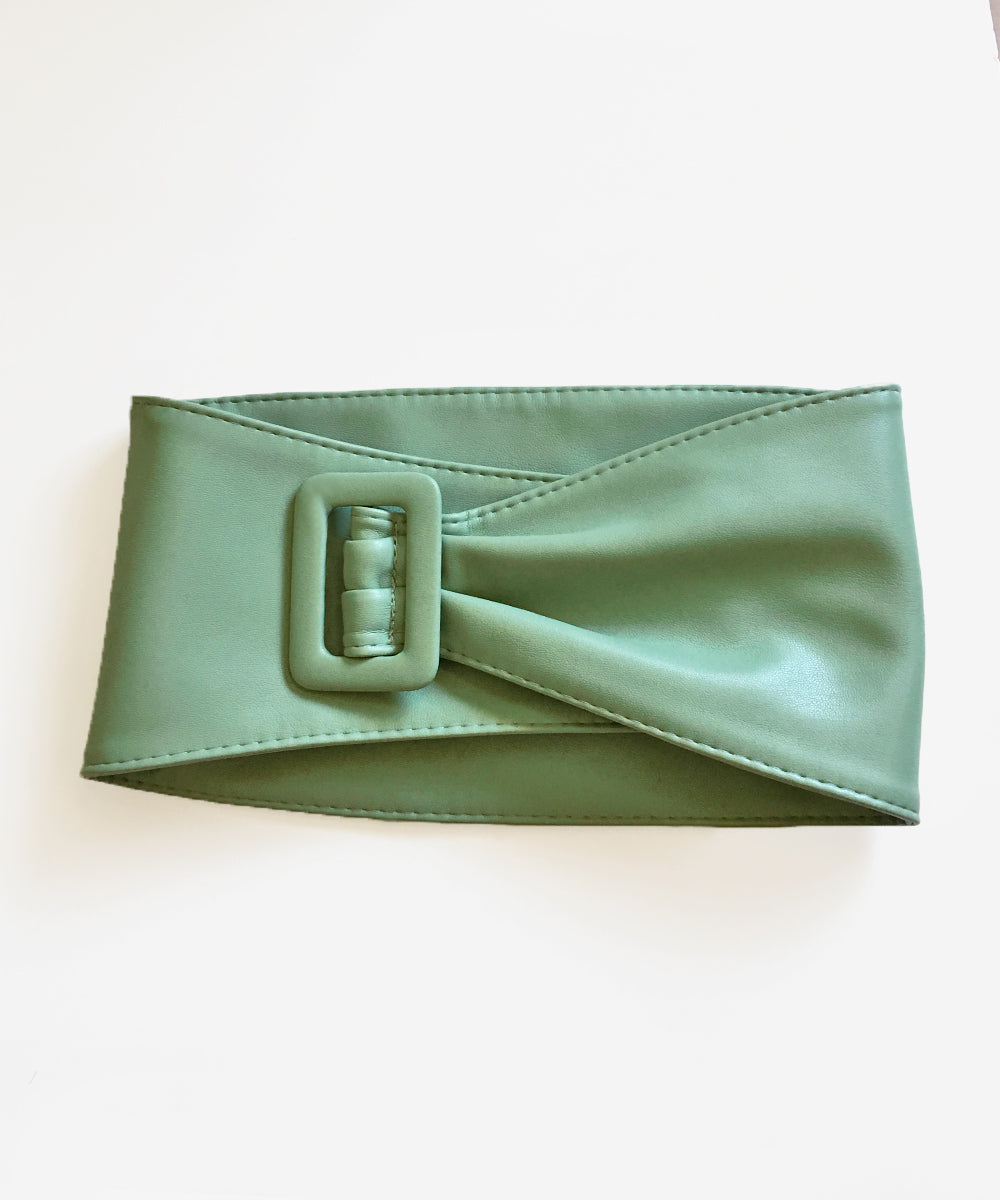 Extra Wide Faux Leather Mint Green Pinup Belt