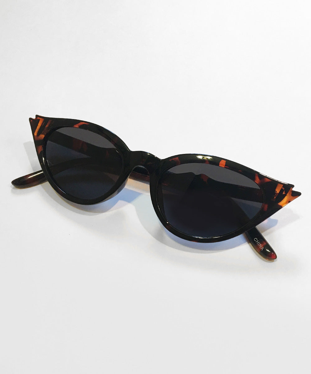 Wing Tip Tortoise Brown Cat Eye Sunglasses