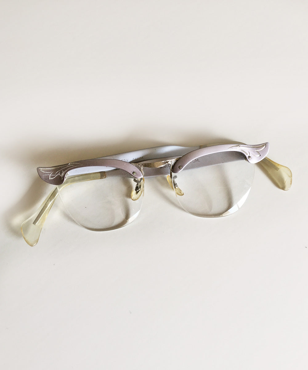 Vintage 1950s C.O.C. Wing Tip Cat Eye Purple Aluminum Engraved Glasses