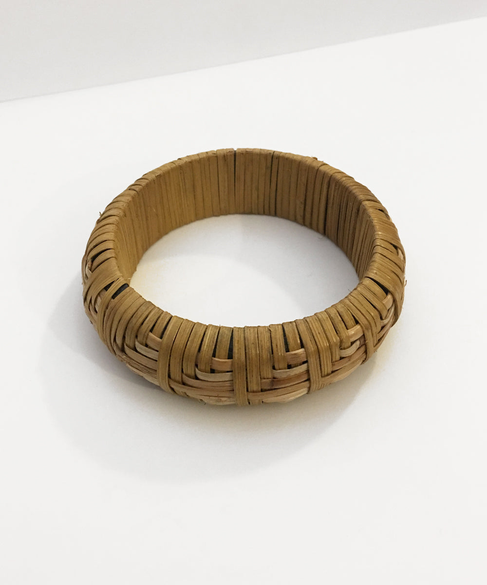 Chunky Geometric Woven Tan Tiki Bangle Bracelet