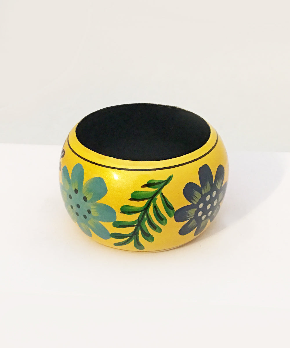 Yellow & Colorful Shimmering Hand Painted Floral Tiki Wooden Bangle