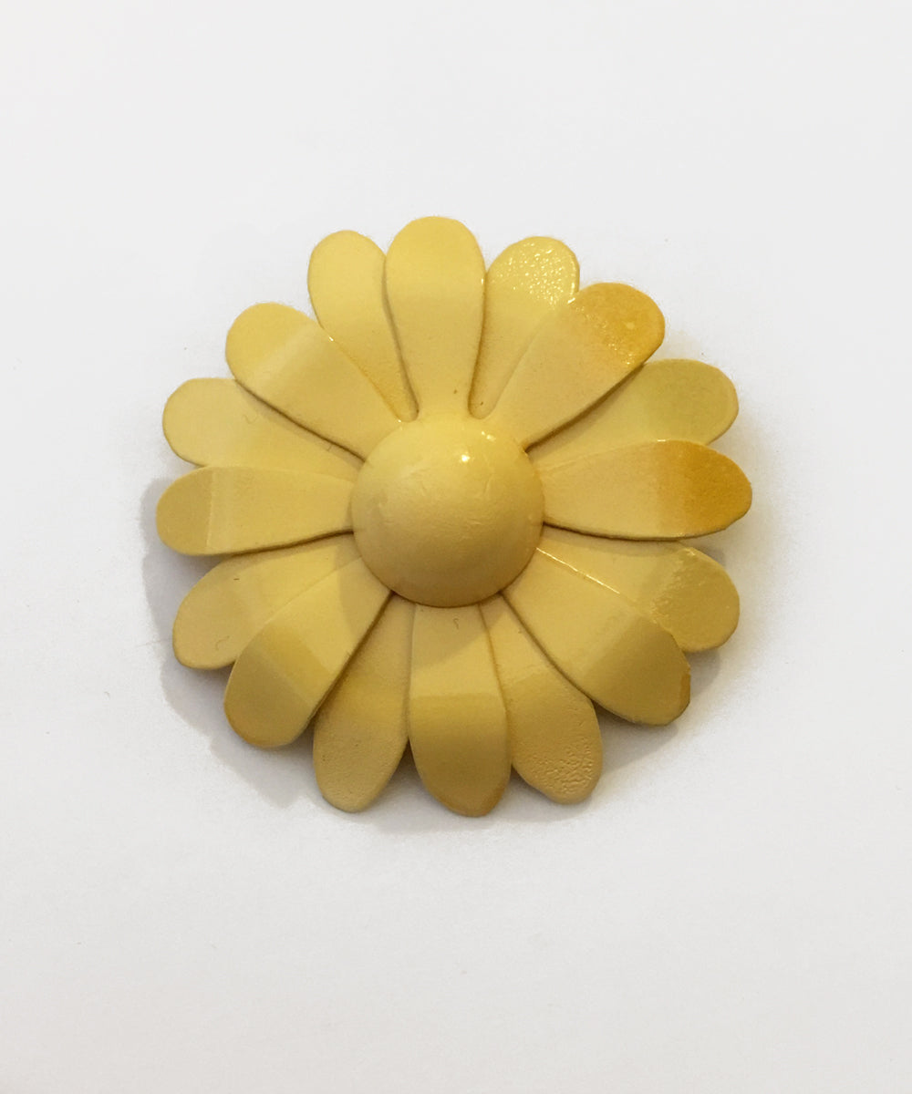 Yellow Handmade Enamel Retro Daisy Brooch