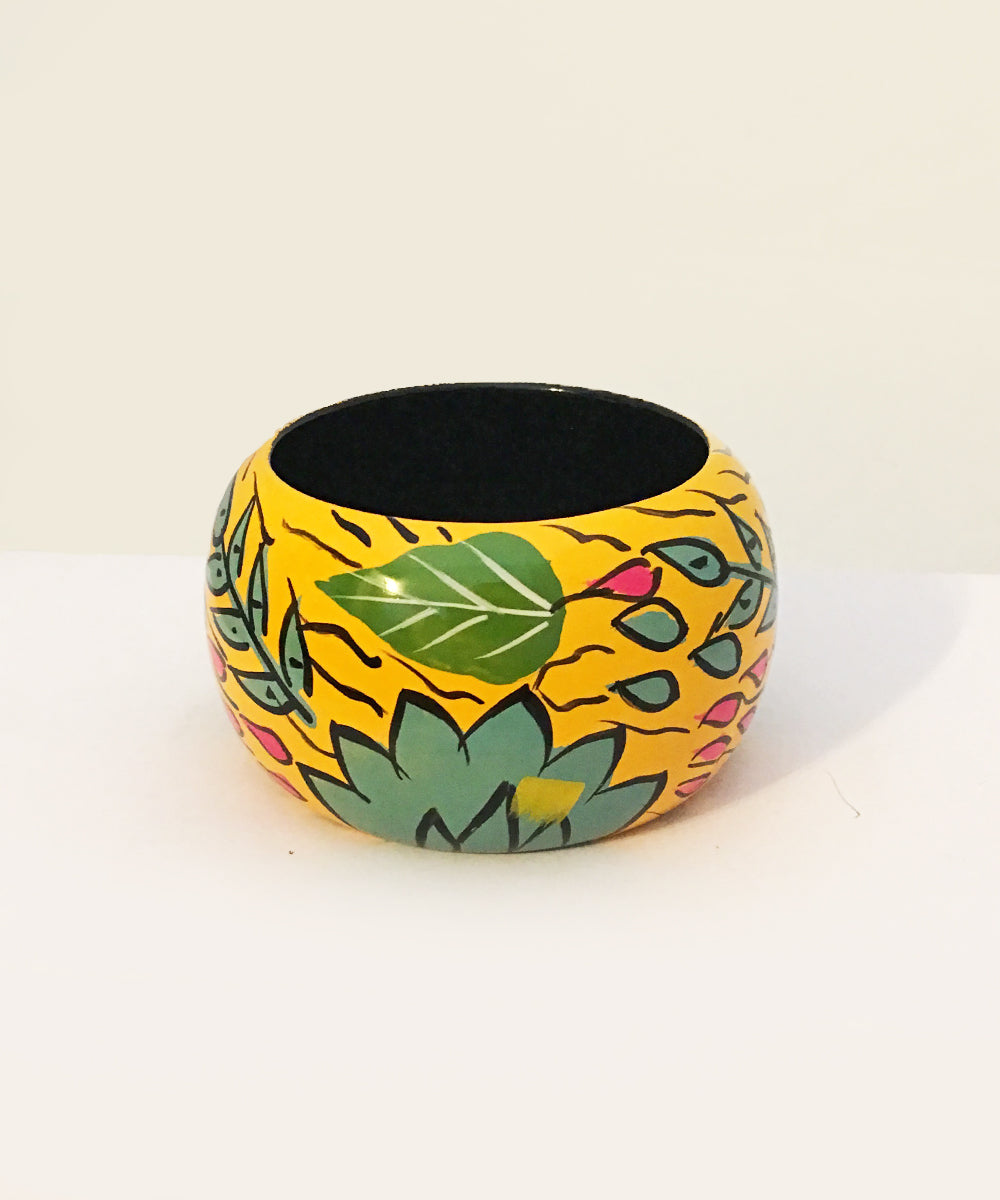 1940s Inspired Abstract Yellow Hawaiian Hand Painted Wooden Bangle