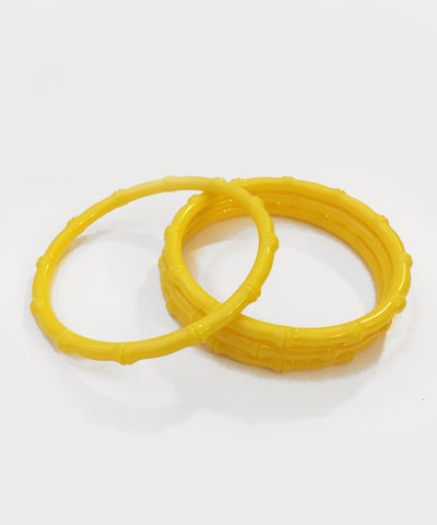 Thin Plastic Yellow Bamboo Bangle Set