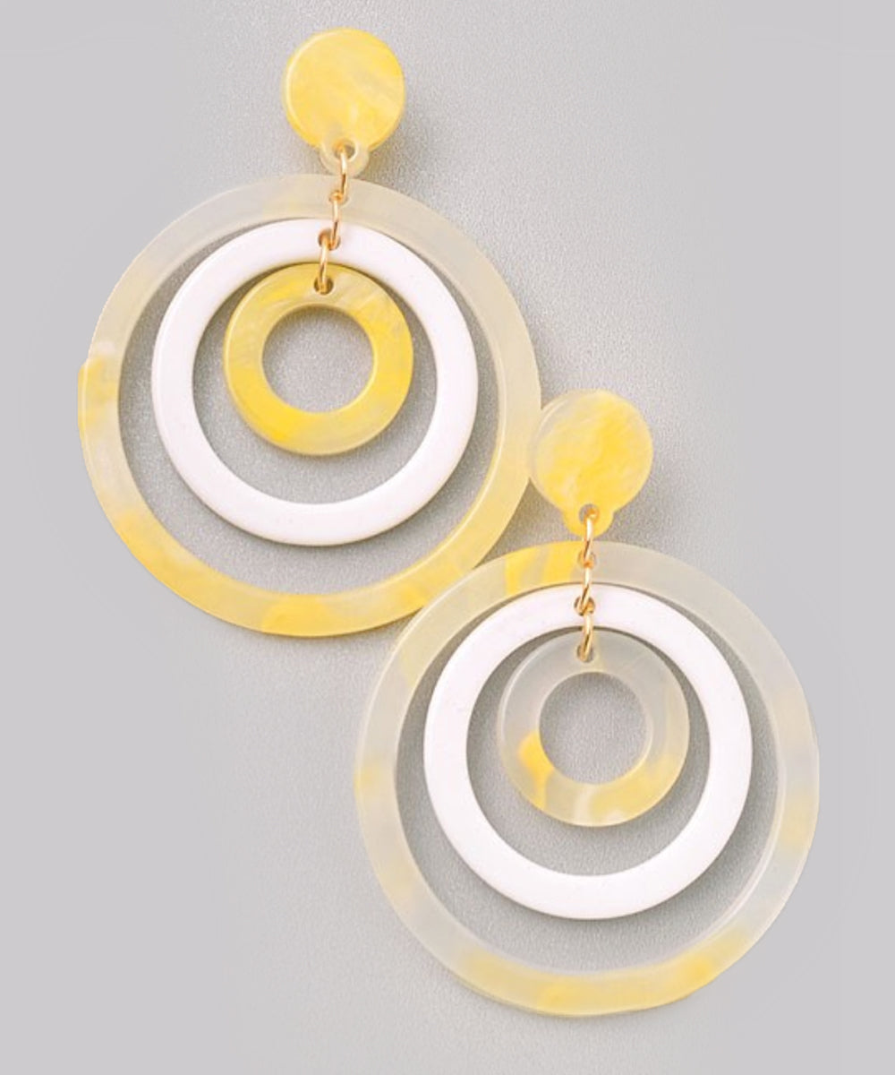 Yellow & White Lucite Triple Hoop Statement Earrings