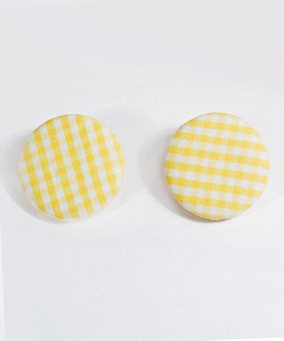 Yellow & White Gingham Round Picnic Earrings