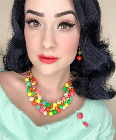 Neon Multi Colored Beaded Bauble Vintage Inspired Necklace & Earring Set