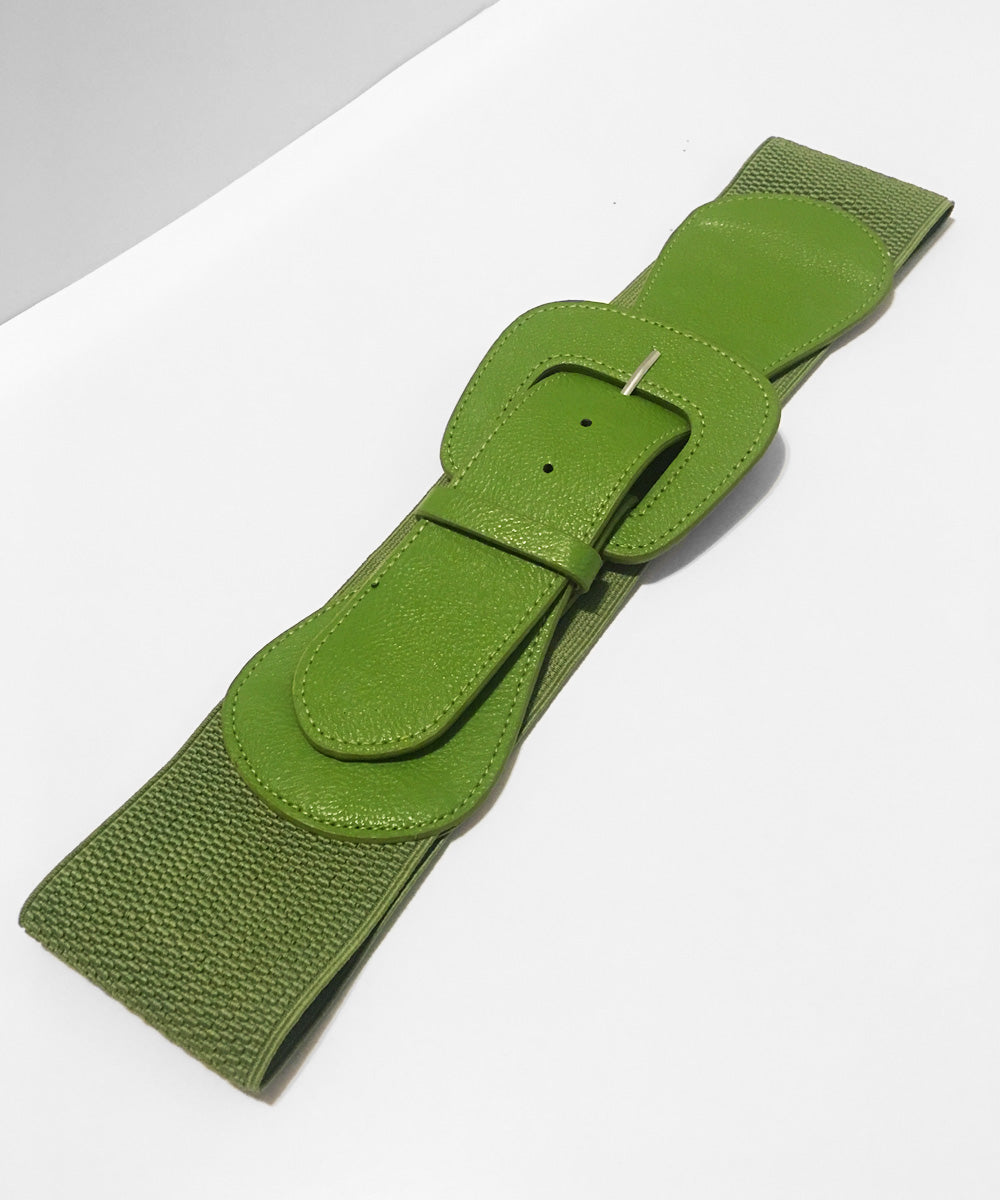 Olive Green Faux Leather Thick Stretch Belt