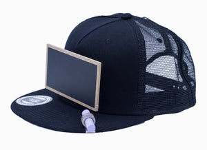 Cool Mesh Black Chalkboard Hat Side View