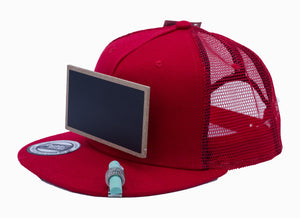 Cool Mesh Red Chalkboard Hat Side View