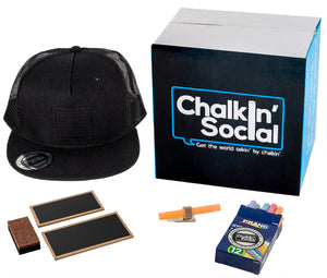 Cool Mesh Black Chalkboard Hat with included accessories