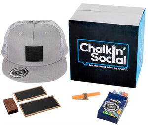 Cool Mesh Gray Chalkboard Hat with included accessories