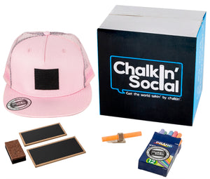 Cool Mesh Pink Chalkboard Hat with included accessories