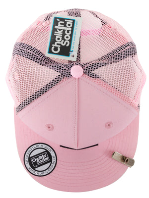 Cool Mesh Pink Chalkboard Hat Top View