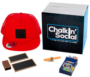 Social Hipster Red Chalkboard Hat and accessories