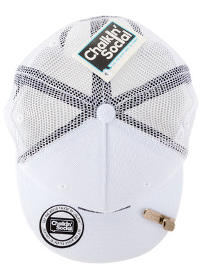 Cool Mesh White Chalkboard Hat Top View