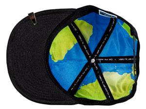 World globe interior of Leadership Adult Chalkboard Hat in black