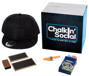 Luxe Black Chalkboard Hat and included accessories