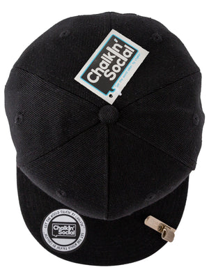 top view of leadership chalkboard hat in black