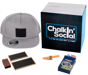 Leadership Adult chalkboard hat in gray and included accessories