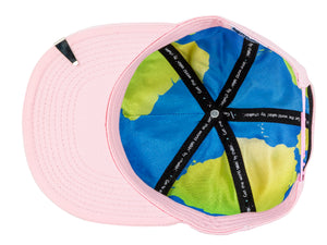 World globe silk interior of World Leader Pink Chalkboard Hat