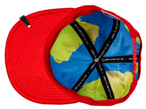 World globe silk interior of Leadership Adult Chalkboard Hat in red