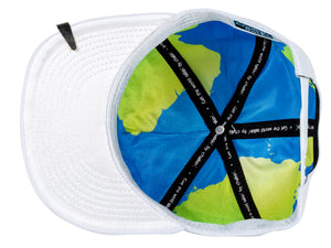 World globe silk interior of Leadership Adult Chalkboard Hat in white