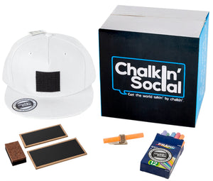 Leadership Adult chalkboard hat in white and included accessories