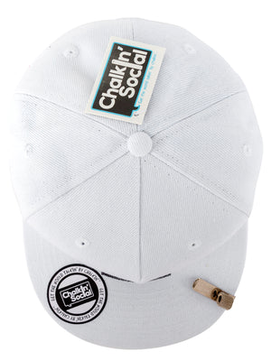 top view of world leader white chalkboard hat