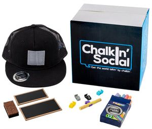 Kids Black Chalkboard Hat with included accessories