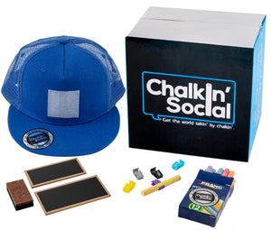 Kids Blue Chalkboard Hat with included accessories