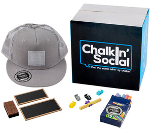 Kids Gray Chalkboard Hat with included accessories