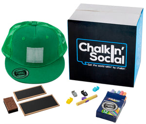 Kids Green Chalkboard Hat with included accessories