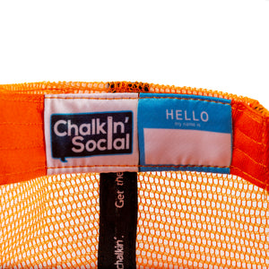 Kids Orange Chalkboard Hat Interior label and personal name tag