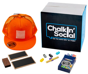 Expressive Kid Orange Chalkboard Hat and accessories