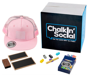 Kids Pink Chalkboard Hat with included accessories