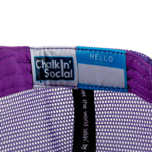 Kids Purple Chalkboard Hat Interior label and personal name tag