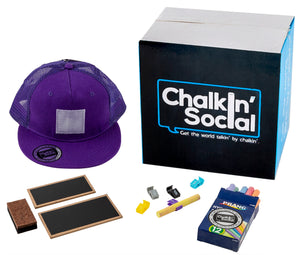 Kids Purple Chalkboard Hat with included accessories
