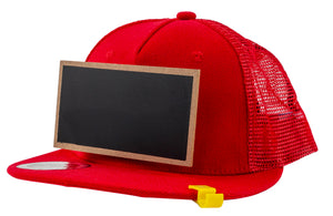 Kids Red Chalkboard Hat side view