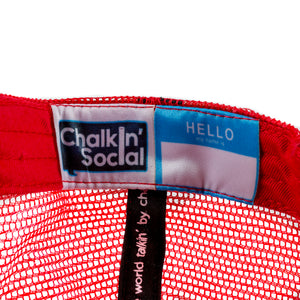 Kids Red Chalkboard Hat Interior label and personal name tag